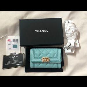 Rare CHANEL 19C Boy O-Card Holder Tiffany Blue NWT
